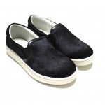mio notis, black horse leather slip-on sneaker