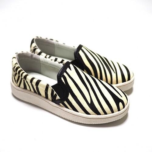 mio notis, zebra print horse leather slip-on sneaker