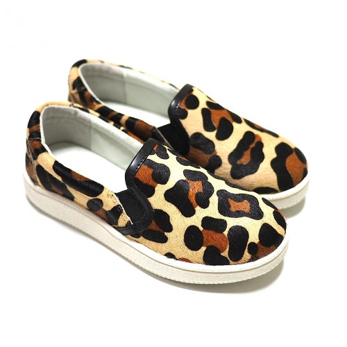 mio notis, leopard print horse leather slip-on sneaker