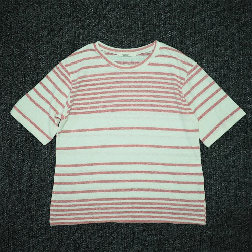 SHURRCCA, Linen Cotton Striped Tee (Pink)